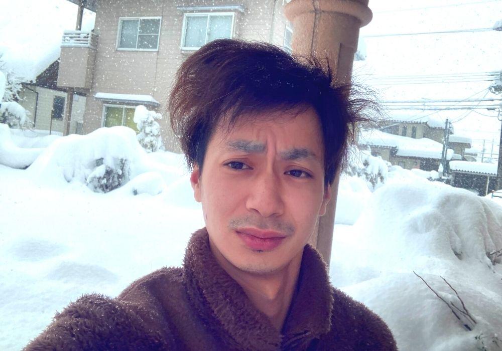 雪かきを終えたまちゅ