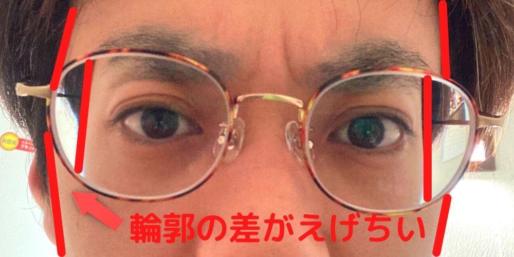 眼鏡の輪郭の歪み